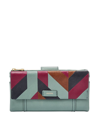 Fossil Ellis Patchwork Leather Clutch-BLUE-One Size