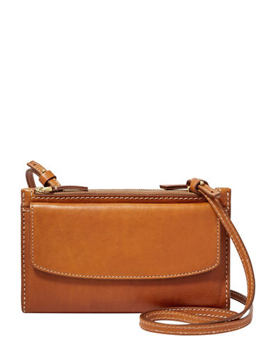 Fossil Sage Leather Crossbody Bag-BROWN-One Size