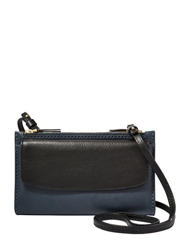Fossil Sage Leather Crossbody Bag-BLACK-One Size