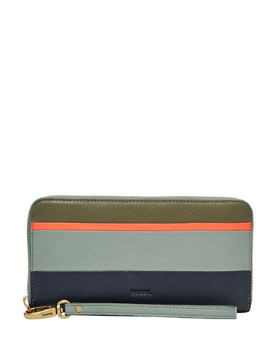Fossil Emma RFID Patchwork Large Zip Clutch-BLUE-One Size