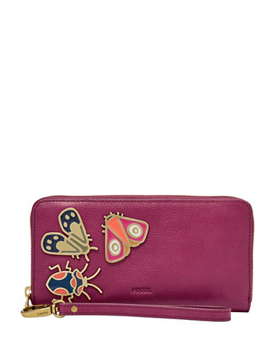 Fossil Emma RFID Embellished Large Zip Clutch-PINK-One Size