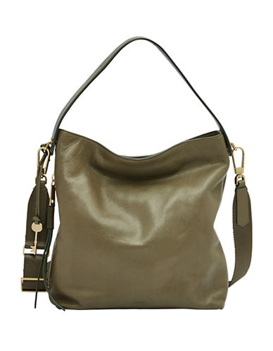 Fossil Maya Small Leather Hobo Bag-GREEN-One Size
