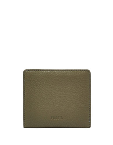 Fossil Emma RFID Mini Leather Zip-Around Wallet-GREEN-One Size
