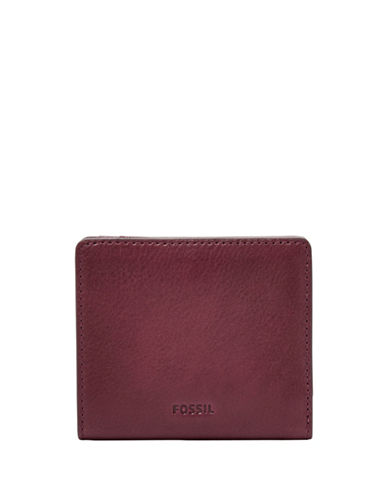 Fossil Emma RFID Mini Leather Zip-Around Wallet-RED-One Size