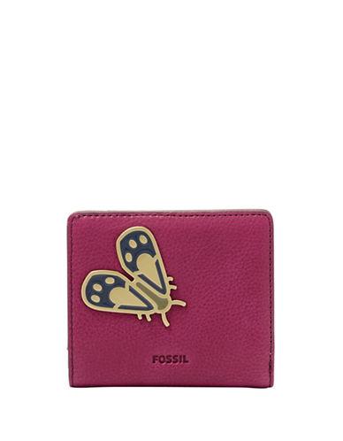 Fossil Emma RFID Embellished Mini Leather Bi-Fold Wallet-PINK-One Size