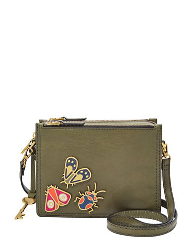 Fossil Campbell Embellished Leather Crossbody-GREEN-One Size