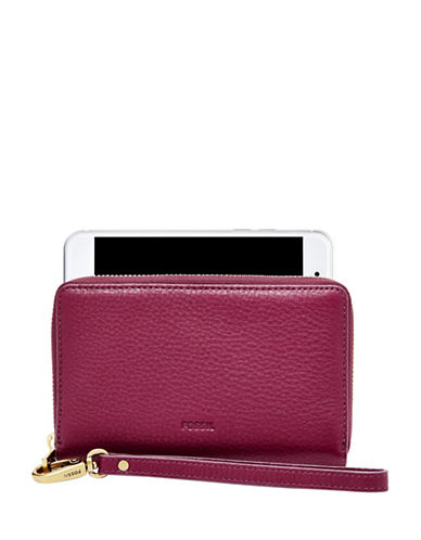 Fossil Emma RFID Leather Smartphone Wristlet-PINK-One Size