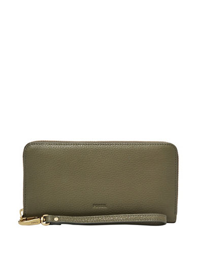 Fossil Emma RFID Glazed Leather Large Zip Clutch-GREEN-One Size