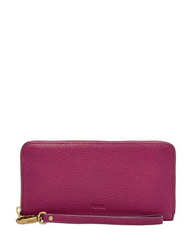 Fossil Emma RFID Glazed Large Zip Clutch-PINK-One Size