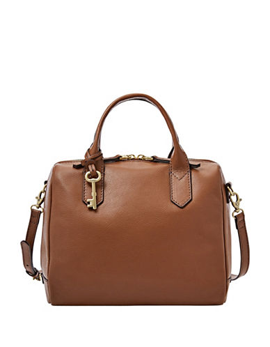 Fossil Fiona Leather Satchel-BROWN-One Size