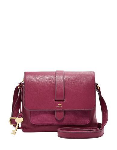 Fossil Kinley Small Leather Crossbody Bag-PINK-One Size