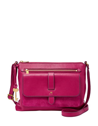 Fossil Kinley Leather Crossbody Bag-PINK-One Size