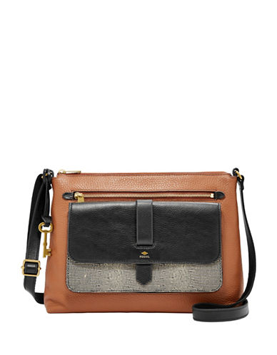 Fossil Kinley Leather Crossbody Bag-BEIGE-One Size