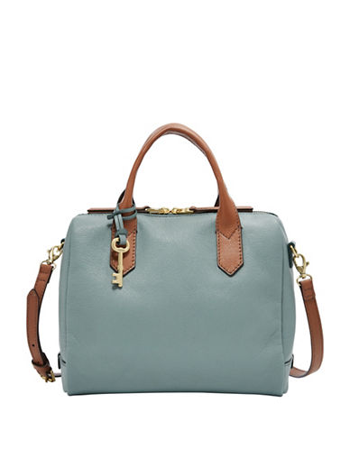 Fossil Fiona Leather Satchel-BLUE-One Size
