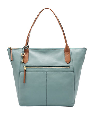Fossil Fiona Leather Tote-BLUE-One Size