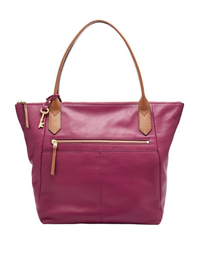 Fossil Fiona Leather Tote-PINK-One Size
