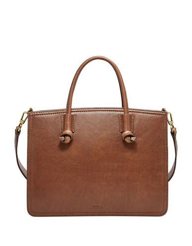 Fossil Skylar Pebbled Leather Satchel-BROWN-One Size