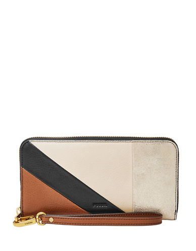 Fossil EmmaRFID Leather Zip Clutch-NATURAL-One Size
