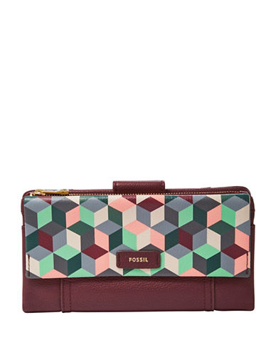 Fossil Ellis Printed Leather Clutch-GREY MULTI-One Size