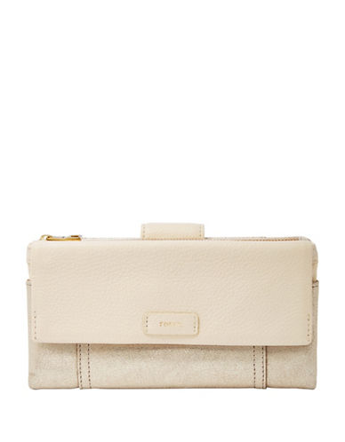 Fossil Ellis Leather Clutch-GOLD METALIC-One Size