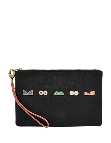 Fossil Studded Leather Wristlet-BLACK-One Size