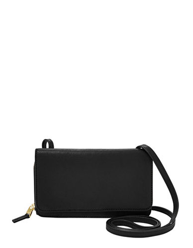 Fossil Brynn Leather Mini Bag-BLACK-One Size