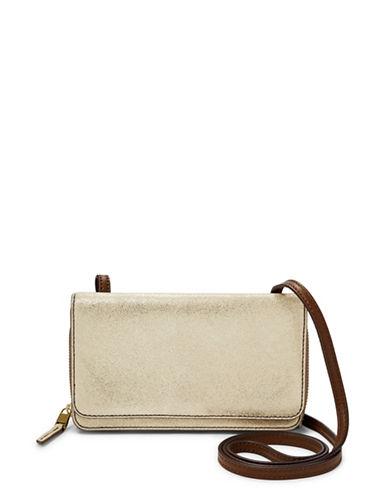 Fossil Brynn Metallic Leather Mini Bag-GOLD/METALLIC-One Size