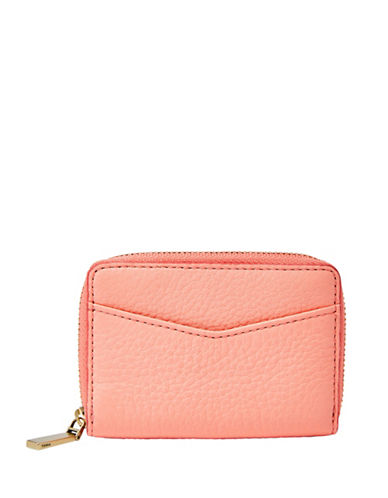 Fossil RFID Mini Zip Card Case-PASTEL PINK-One Size