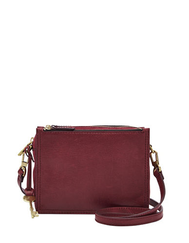 Fossil Campbell Leather Crossbody Bag-CABERNET-One Size