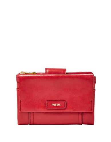 Fossil Ellis Multifunctional Bi-Fold Wallet-RED-One Size