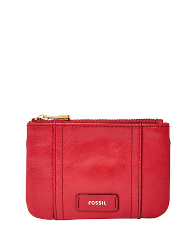 Fossil Ellis Zip Coin Wallet-RED-One Size