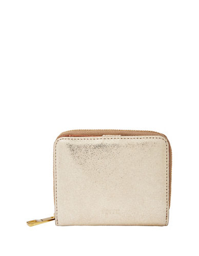 Fossil Emma Mini Leather Wallet-GOLD METALLIC-One Size