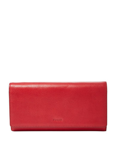 Fossil Emma Flap Clutch-RED-One Size