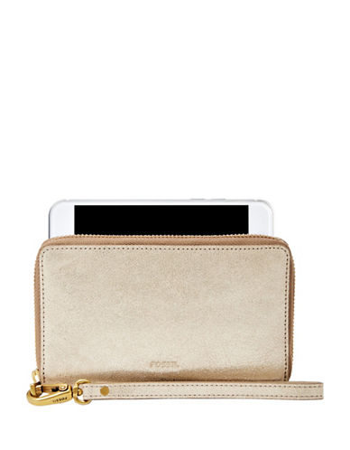 Fossil Emma Leather Wristlet-GOLD  METALLIC-One Size