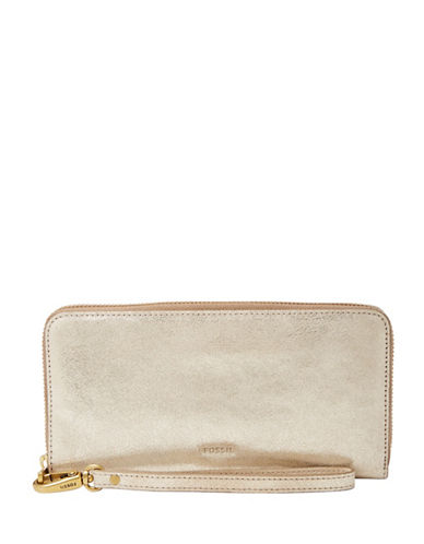 Fossil Emma RFID Large Zip Leather Clutch-GOLD METALIC-One Size