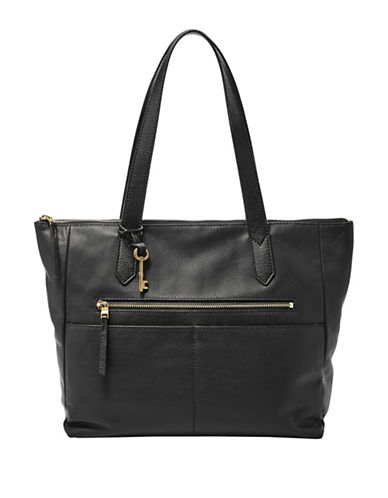 Fossil Fiona Leather Tote-BLACK-One Size 89666199_BLACK_One Size