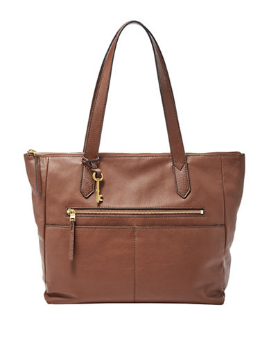 Fossil Fiona Leather Tote-MED BROWN-One Size