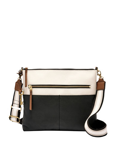 Fossil Fiona Two-Tone Leather Crossbody Bag-BLACK/WHITE-One Size