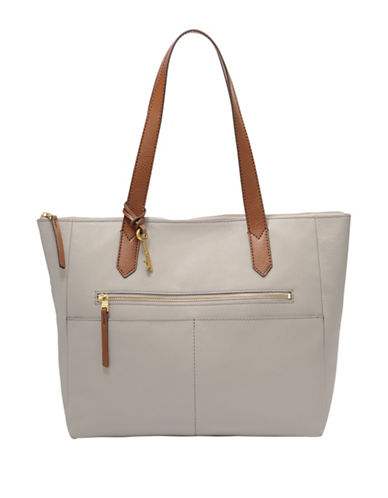 Fossil Fiona EW Leather Tote-GREY-One Size