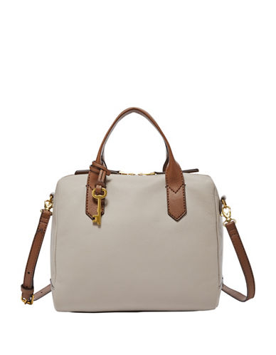 Fossil Fiona Vintage Leather Satchel-GREY-One Size
