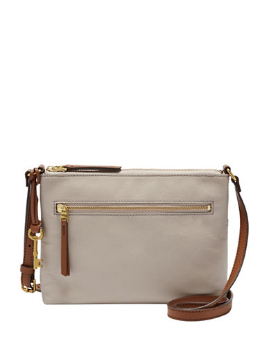 Fossil Fiona Leather Crossbody Bag-GREY-One Size