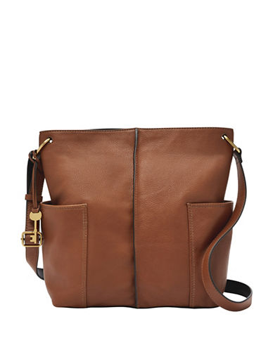 Fossil Lane NS Leather Crossbody Bag-BROWN-One Size