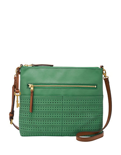 Fossil Fiona Leather Crossbody Bag-GREEN-One Size
