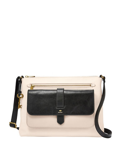 Fossil Kinley Leather Crossbody-WHITE/BLACK-One Size