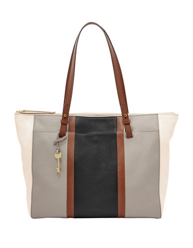 Fossil Rachel Vintage Leather Tote-GREY/BLACK-One Size