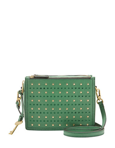 Fossil Campbell Leather Crossbody Bag-GREEN-One Size