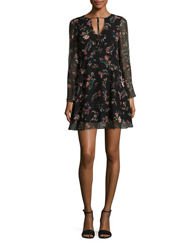 Sam Edelman Bell Sleeve Floral Dress-BLACK-2