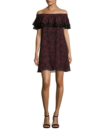 Sam Edelman Ruffled Off-The-Shoulder Dress-RED-8