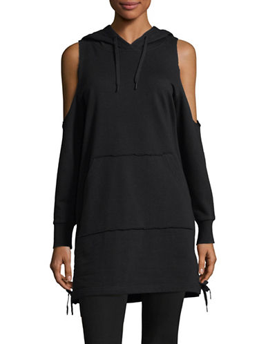 Sam Edelman Cold-Shoulder Sweatshirt-BLACK-Medium