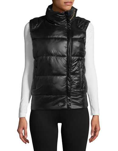 Sam Edelman Full-Zip Puffer Vest-BLACK-Medium
